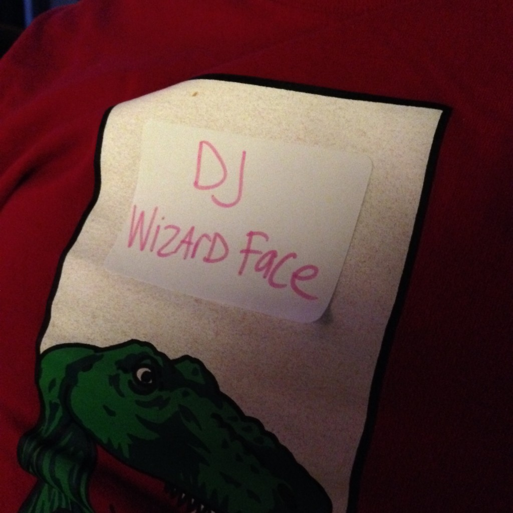 DJ Wizard Face nametag at Melt